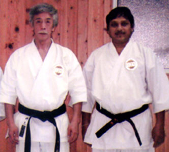Orissa karate exponent S S Harichandan with shito-ryu keishin-kai style founder Yoshimi Inoue in Japan in January 2009