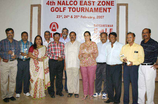 Prize-winners and guests at the closing function of the 4th Nalco East Zone Golf Tournament at BGC Course, Bhubaneswar on Feb 25, 2007.