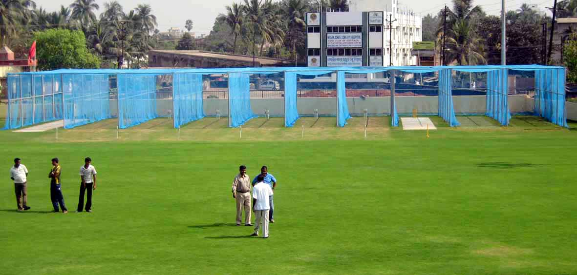 A view of the field with practice pitches at the Orissa Cricket Academy in Cuttack on 8th February, 2009.