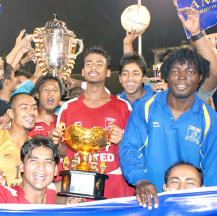 Amity United players celebrate after winning the All-India Kalinga Cup Football Tournament at Barabati Stadium in Cuttack on Feb 11, 2009.