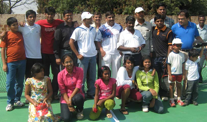 Guests and players at the launching function of Acebase Tennis Resort at Naharakanta in Bhubaneswar on Feb 22, 2009.