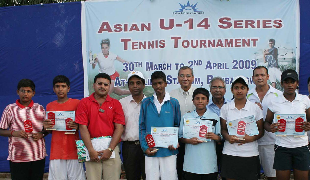 Title winners, losing finalists and guests at the Asian u-14 tennis tournament in Bhubaneswar on April 2, 2009.