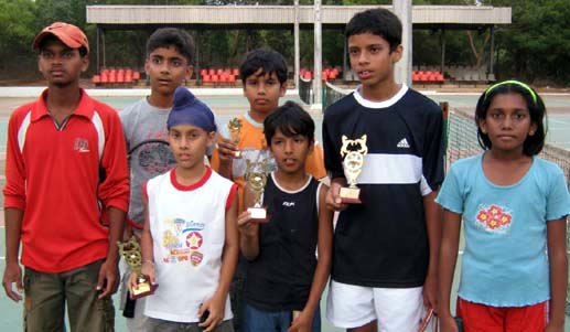 Prize winners of the City Children`s Summer Tennis Tournament in Bhubaneswar on April 12, 2009.