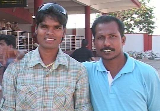 Hockey star <b>Prabodh Tirkey</b> with television sports reporter <b>Niranjan Reddy </b>at the airport in Bhubaneswar on April 14, 2009.