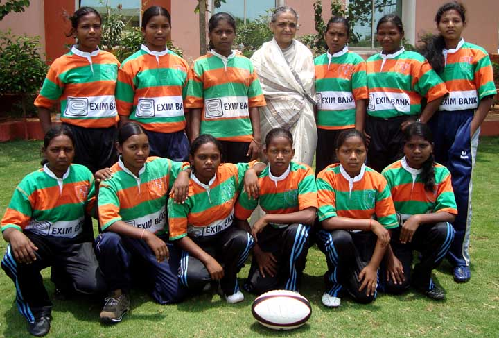KISS team for the first National Women`s Rugby 7s Championship poses in Bhubaneswar on <b>May 18, 2009.