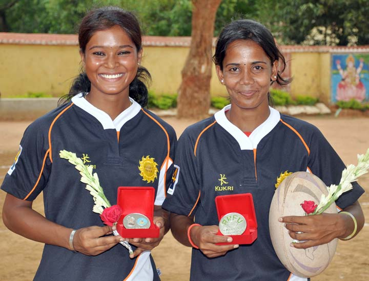 Orissa`s first two woman international rugby players Sangita Minz (left) and Jasobanti Behera in Bhubaneswar on <b>June 4, 2009.