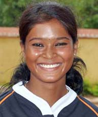 Orissa woman rugby international <b>Sangita Minz</b> in Bhubaneswar on <b>June 4, 2009.