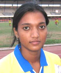 Woman football international <b>Sarita Jayanti Behera</b> in Bhubaneswar on <b>June 4, 2009.