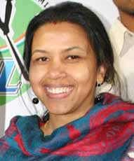 File photo of India hockey great <b>Dilip Tirkey</b>`s wife <b>Meera Tirkey.