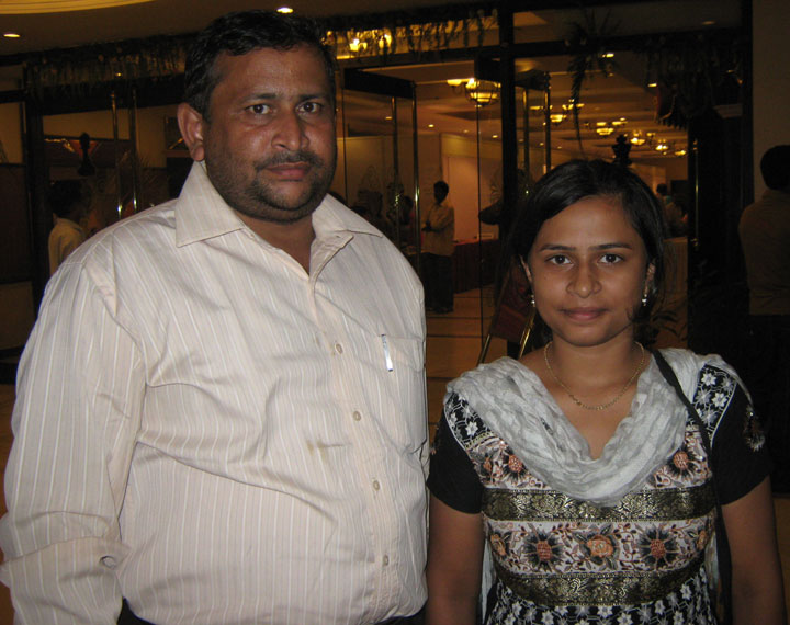Orissa chess player <b>Aparajita Gochhikar</b> with her father <b>Ramanarayan Gochhikar</b> in Bhubaneswar on June 10th, 2009
