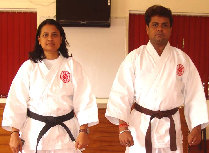 <b>Caption: </b>Gouri Mohanti (left) and Sandeep Mohanty pose in Bhubaneswar on <b>June 23, 2009</b> before their tour to Japan for World Shukokai Karate Championship.