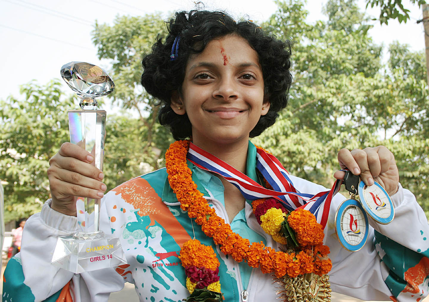 Orissa chess star <b>Padmini Rout</b> displays her laurels in Bhubaneswar in <b>2009.
