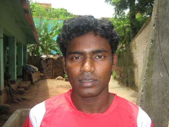 Orissa footballer <b>Rupai Hansdah</b> in Bhubaneswar on <b>July 22, 2009
