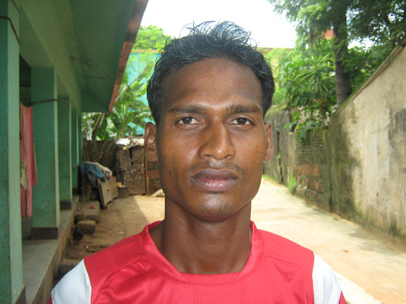 Orissa footballer <b>Akshay Das</b> in Bhubaneswar on <b>July 22, 2009