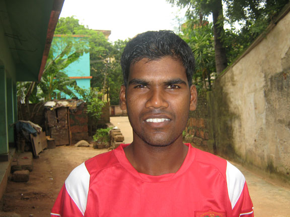 Orissa footballer <b>Basudev Chhachhan</b> in Bhubaneswar on <b>July 22, 2009