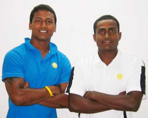 File photo of India rugby player <b>Bikash Jena</b> (left) and assistant coach <b>Manas Jena.