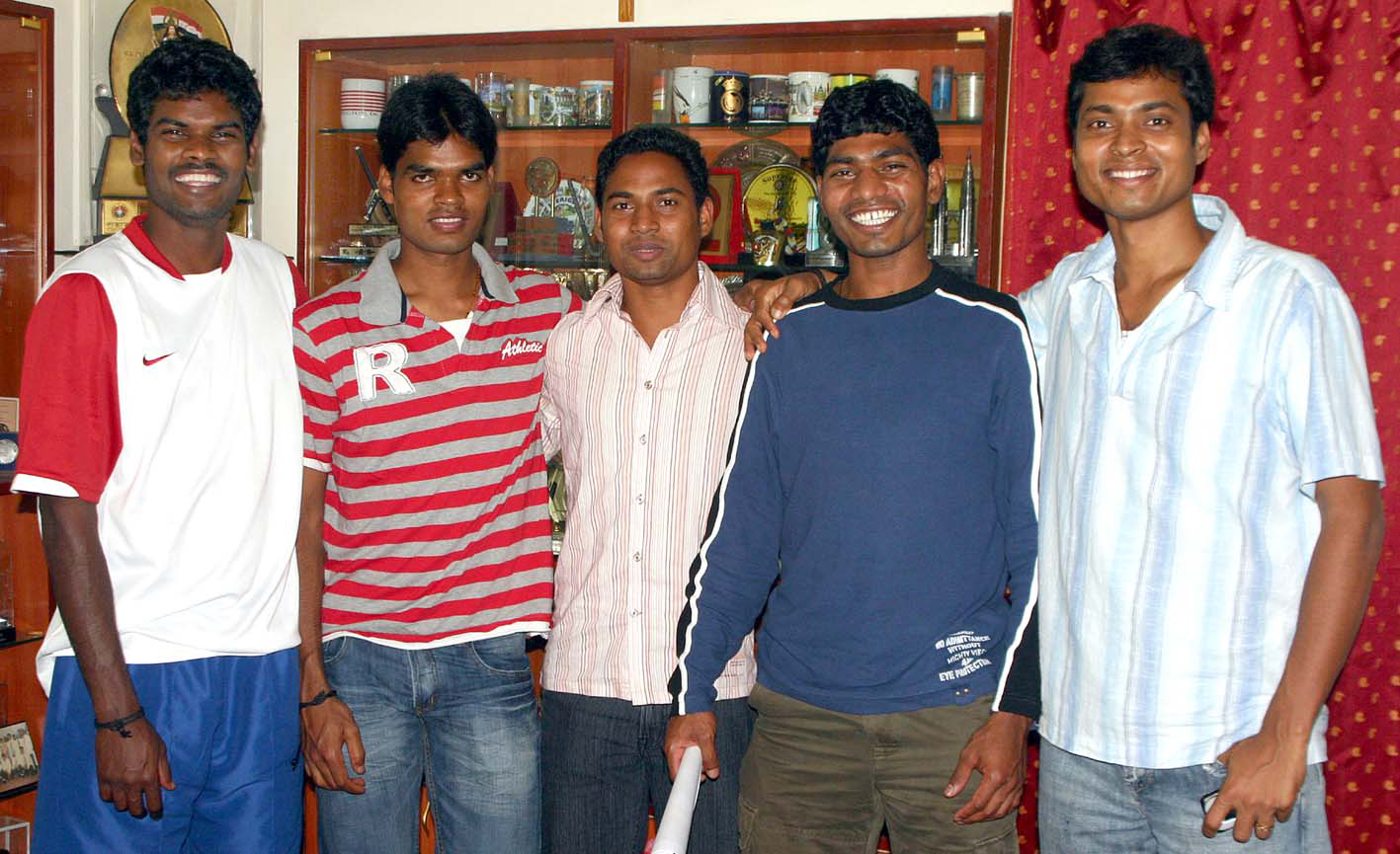 Hockey stars of Orissa (Left to right): Ignace Tirkey, Prabodh Tirkey, Roshan Minz, William Xalxo and Dilip Tirkey in Bhubaneswar in 2008.