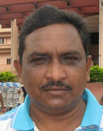 Orissa football players turned coach <b>Mohammad Shahid Jabbar </b>in Bhubaneswar on <b>August 11, 2009.