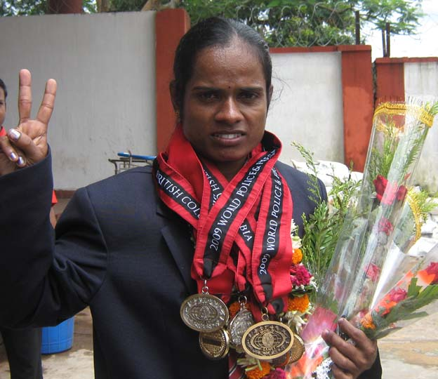 Police athlete <b>Saraswati Chand </b>in Bhubaneswar on <b>August 11, 2009.