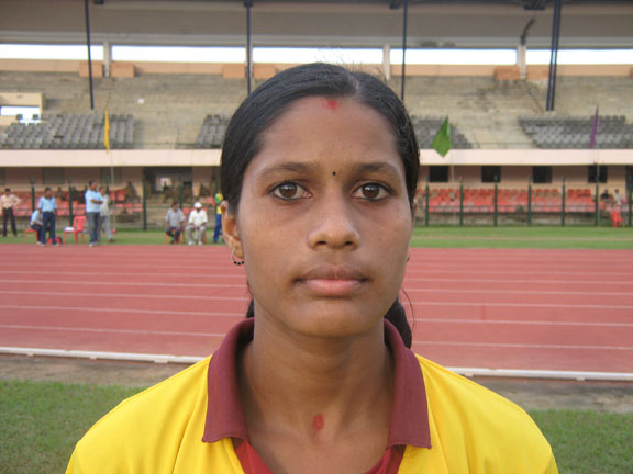 Orissa athlete <b>Pushpanjali Mallik</b> in Bhubaneswar on <b>August 16, 2009</b>