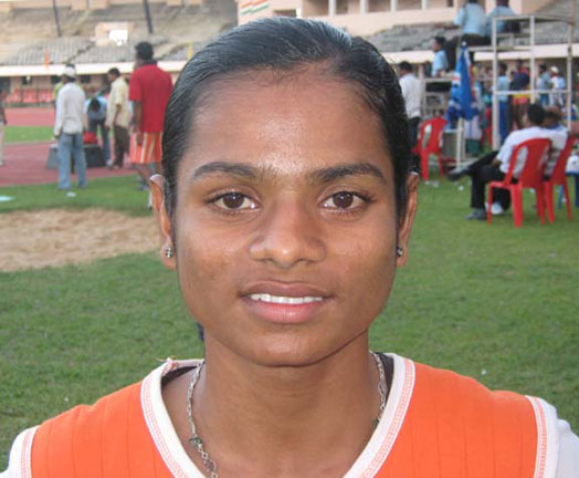 Orissa athlete <b>Dutee Chand </b>in Bhubaneswar on <b>August 16, 2009.