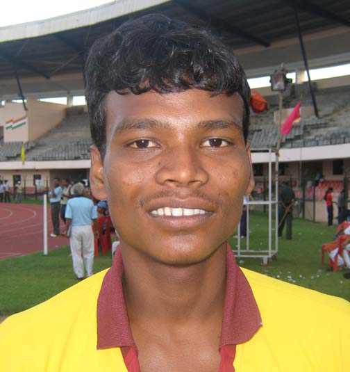 Orissa athlete <b>Chandan Murmu </b>in Bhubaneswar on <b>August 17, 2009.