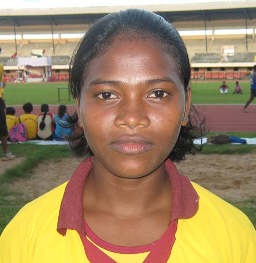 Orissa athlete <b>Susma Toppo </b>in Bhubaneswar on <b>August 17, 2009.