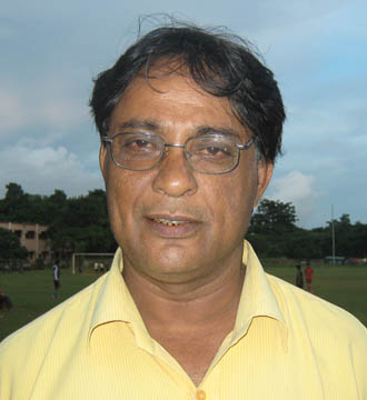 Former Orissa goalkeeper <b>Prafulla Kumar Mishra </b>in Bhubaneswar on <b>August 26, 2009.