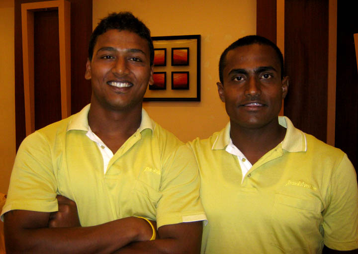 PRIDE OF RUGBY ORISSA: International <b>Bikash Jena </b>(L) and assistant National coach <b>Manas Jena </b>in Bhubaneswar on <b>August 27, 2009.