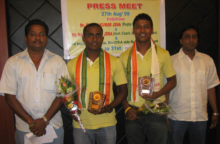 Orissa rugby officials felicitate <b>Bikash Jena </b>and <b>Manas Jena </b>in Bhubaneswar on <b>August 27, 2009.