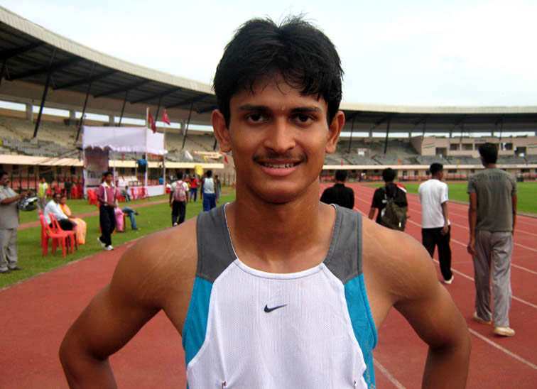 Sprinter <b>Amiya Kumar Mallick</b> in Bhubaneswar on <b>August 16, 2009.