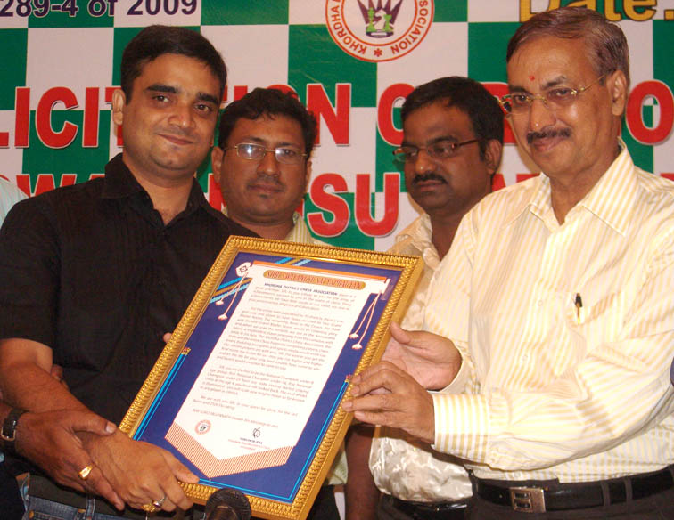 Orissa IM <b>Swayangsu Satyapragyan </b> is felicitated in Bhubaneswar on <b>Sept 23, 2009.