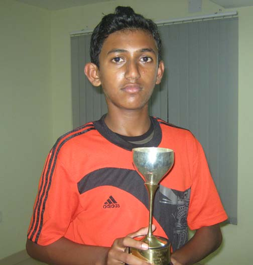 <b>Adwithiya Patnaik </b>with his second Talent Series tennis trophy in Bhubaneswar on <b>Oct 3, 2009.