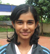 Orissa Table tennis player <b>Vaishnovee Sarangi</b> in Bhubaneswar on <b>October 3, 2009</b>