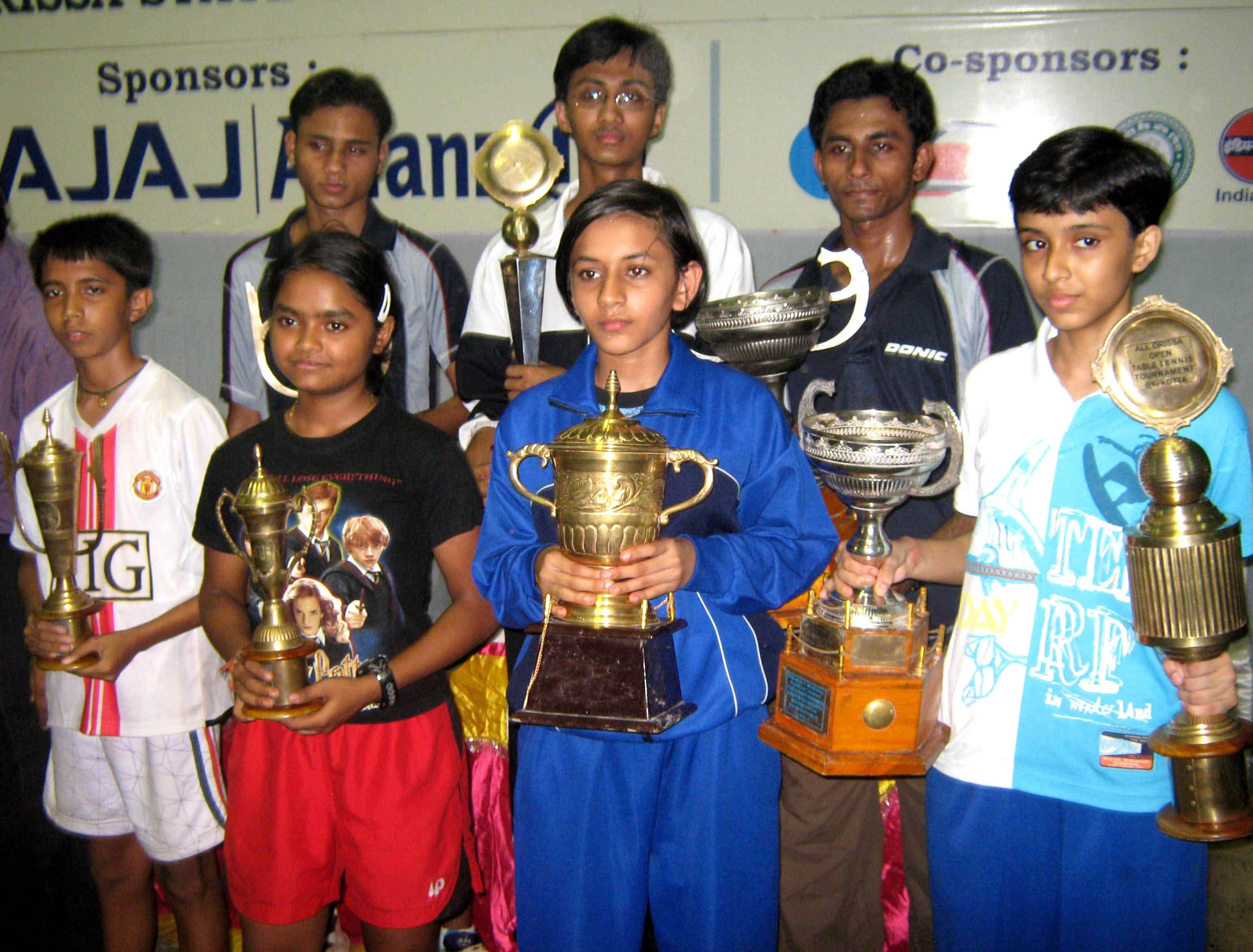 Title winners of the KDTTA All-Orissa Ranking Table Tennis Tournament in Bhubaneswar on <b>Oct 4, 2009.
