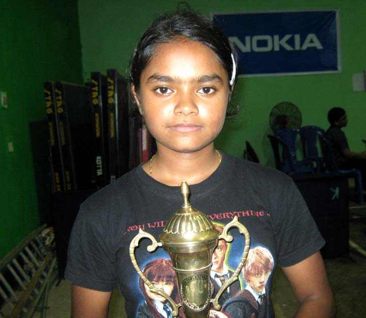 Orissa table tennis player <b>Taniya Gope</b> in Bhubaneswar on <b>Oct 4, 2009.
