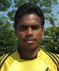 Orissa footballer <b>Santosh Tudu</b> in Bhubaneswar on <b>Oct 12, 2009.