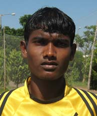 Orissa footballer <b>Sankho Marandi</b> in Bhubaneswar on <b>Oct 12, 2009.