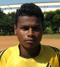 Orissa footballer <b>Prasant Nayak</b> in Bhubaneswar on <b>Oct 12, 2009.