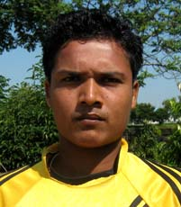 Orissa footballer <b>Sujit Kumar Barik </b>in Bhubaneswar on <b>Oct 12, 2009.