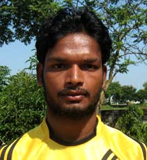 Orissa footballer <b>Sravan Kumar Nayak </b>in Bhubaneswar on <b>Oct 12, 2009.