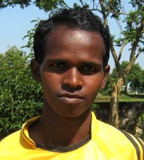 Orissa footballer <b>Prakash Majhi </b>in Bhubaneswar on <b>Oct 12, 2009.