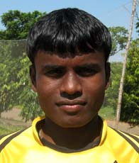 Orissa footballer <b>Anntu Murmu </b>in Bhubaneswar on <b>Oct 12, 2009.
