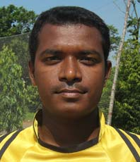 Orissa footballer <b>Bidyadhar Hembram </b>in Bhubaneswar on <b>Oct 12, 2009.