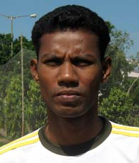 Orissa footballer <b>Chitta Ranjan Behera </b>in Bhubaneswar on <b>Oct 12, 2009.