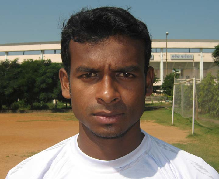 Orissa footballer <b>Bharat Murmu </b>in Bhubaneswar on <b>Oct 12, 2009.