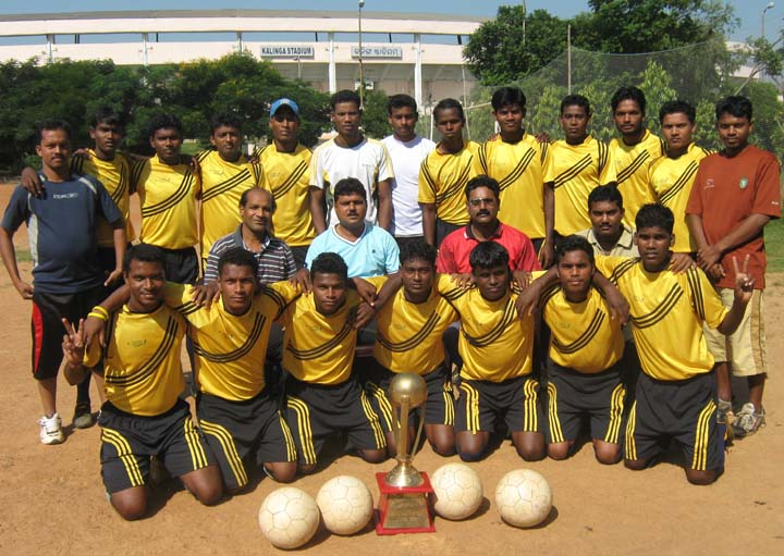 Players and officials of Bhubaneswar Football League champions <b>Club-73 </b>in Bhubaneswar on <b>Oct 12, 2009.