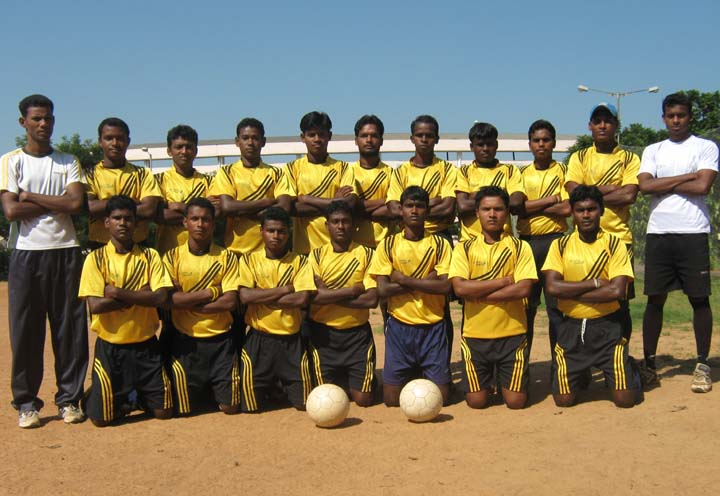 Players of Bhubaneswar Football League champions <b>Club-73 </b>in Bhubaneswar on <b>Oct 12, 2009.