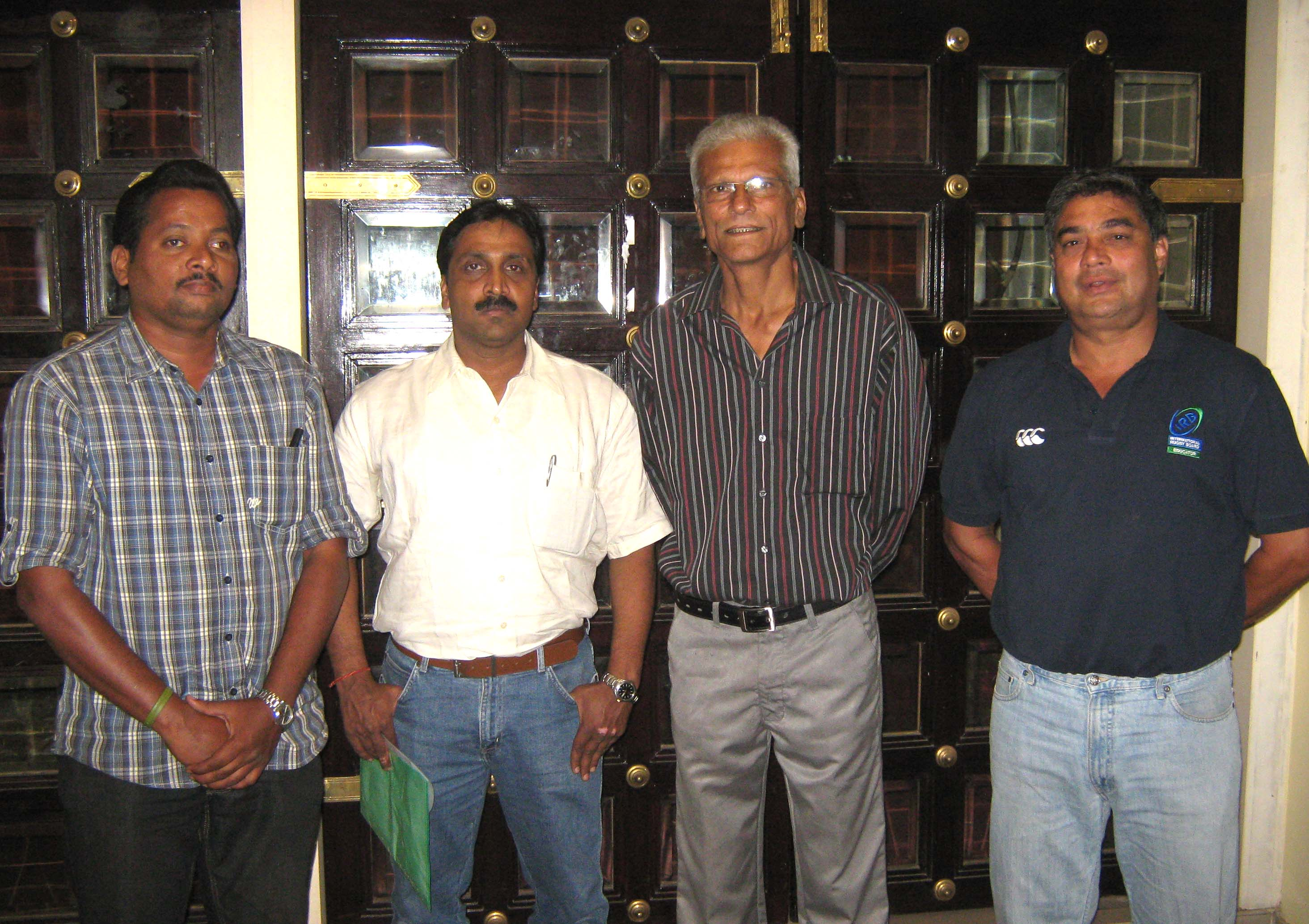 (Left to right) ORFA general secretary U K Mohanty, president Priyadarshi Mishra, IRFU development manager Nandu Chandavakar and IRB development officer Tony McLuskie at a media conference in Bhubaneswar on <b>Oct 22, 2009.