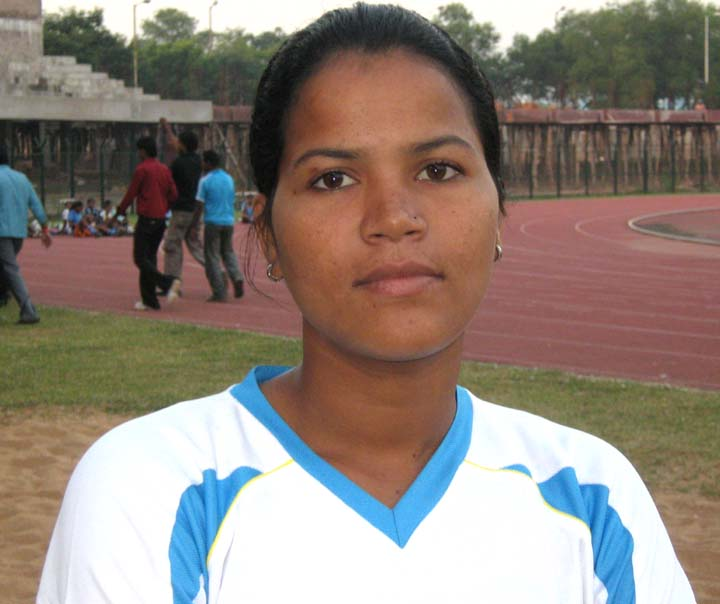 Orissa`s international woman footballer <b>Sasmita Mallick </b> in Bhubaneswar on <b>Oct 24, 2009.